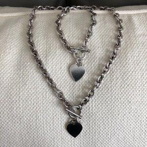 Heart charm toggle necklace & bracelet